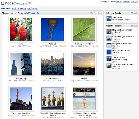 Picasa Web Albums Interface