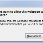 Disable Allow This Webpage to Access Your Clipboard Pop-Up Warning Message in IE7
