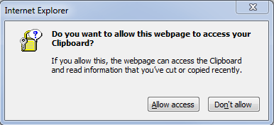 IE Allow Webpage to Access Clipboard