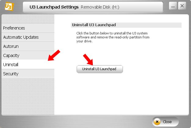 Remove U3 Launchpad