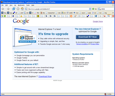Google IE7 splash page