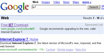 IE7 for Google sponsored link