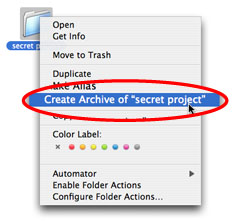 Create Archive in Mac