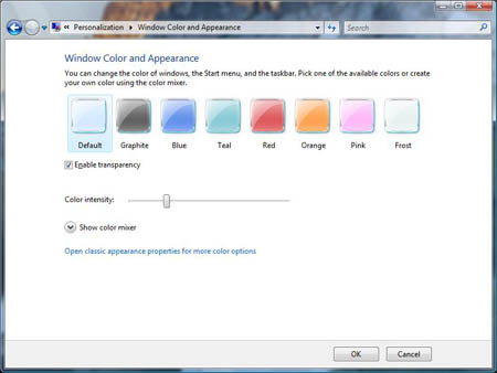 Window Color and Appearance Dialog