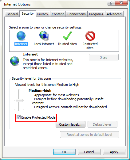 Windows IE Internet Security with Protected Mode