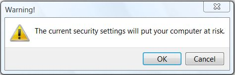 IE Security Settings Warning