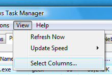 Windows Task Manager View Menu