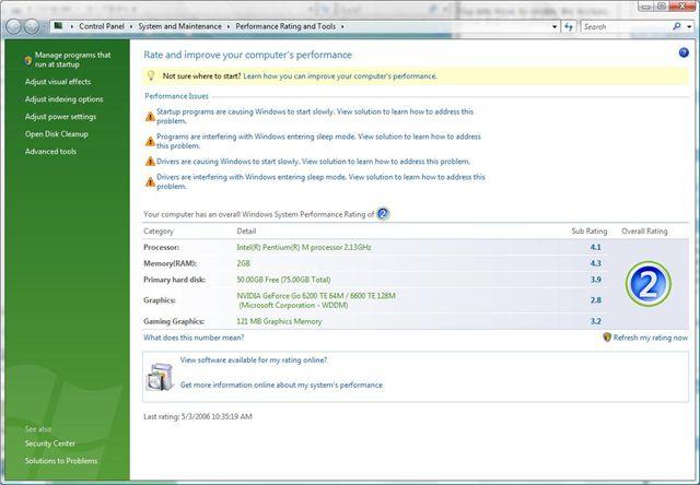 Windows Vista Performance Center