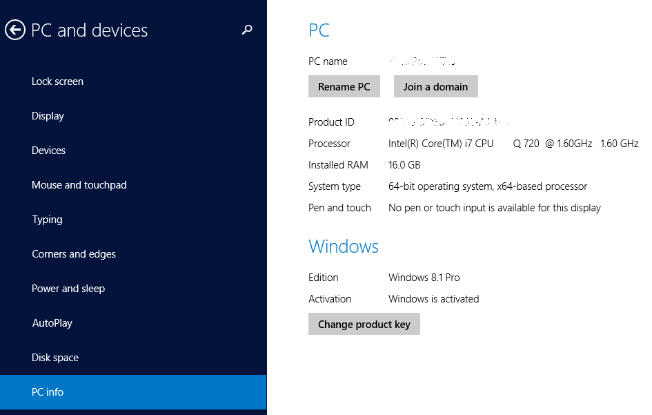 PC Info in Windows 8
