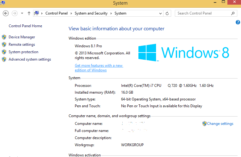 Windows 8/8.1 System Properties