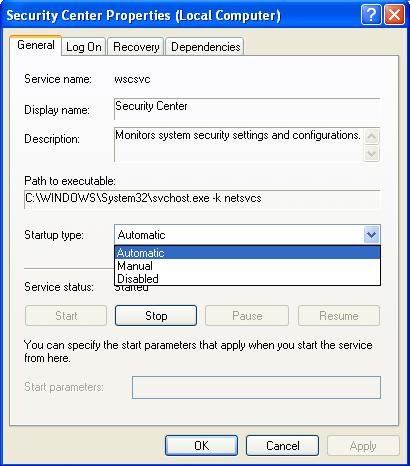 Disable Security Center Service