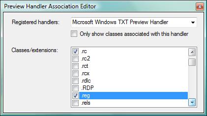 Preview Handler Association Editor