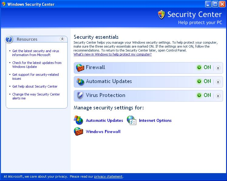 Windows XP Security Center