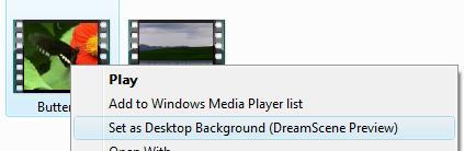 Set as DreamScene Background