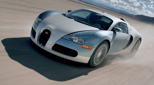 Bugatti Veyron Speeding in Sand