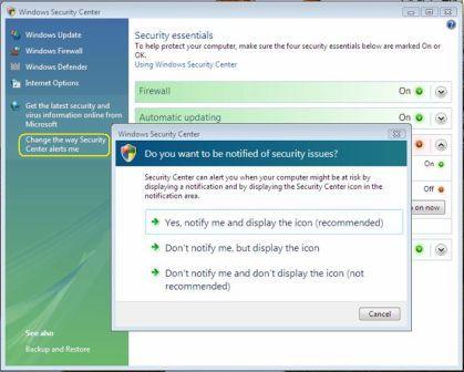 Change Security Center Alerts in Windows