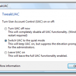 Turn Off or Turn On UAC (Disable or Enable Elevation Prompt) with TweakUAC
