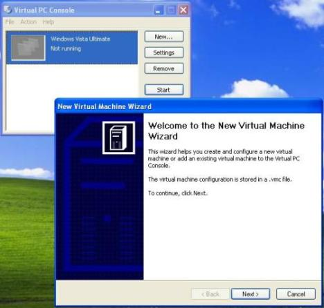 Virtual PC 2007 Console and New Virtual Machine Wizard