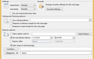 Do Not Delivery Before in Outlook
