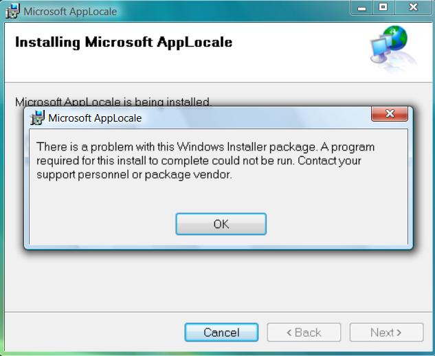 AppLocale Error in Windows