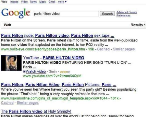 Universal Search Results showing Paris Hilton Video