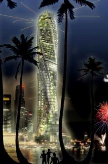 Dubai Rotating Tower at Night