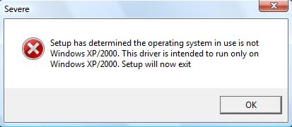 XP Driver in Windows 7 or Windows Vista Install Error