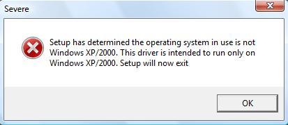 XP Driver in Windows 7 or Windows Vista Install Error