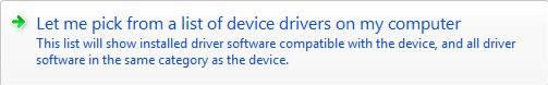 Pick from a list of device drivers