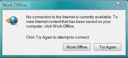 IE7 Work Offline Message