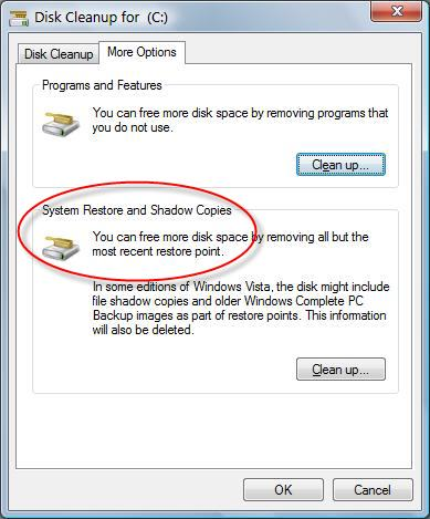 Delete & Reclaim Disk Space from System Restore and Shadow