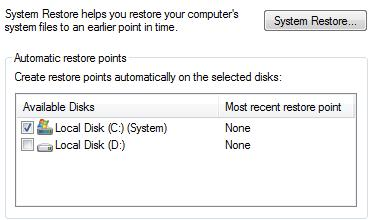 Turn System Restore Off