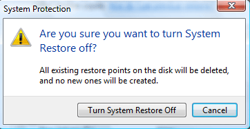 Turn Off System Restore