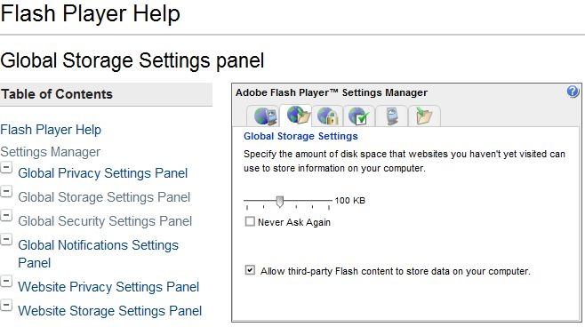 Flash Global Storage Settings