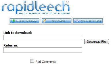 Rapid Leech Downloads RapidShare, MegaUpload, Uploading, MyTempDir