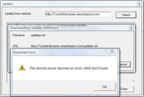 Torrent Harvester Download Error