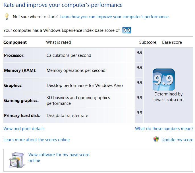 Windows Vista Windows Experience Index