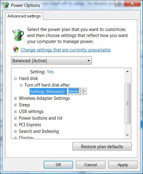 Power Options Hard Disk