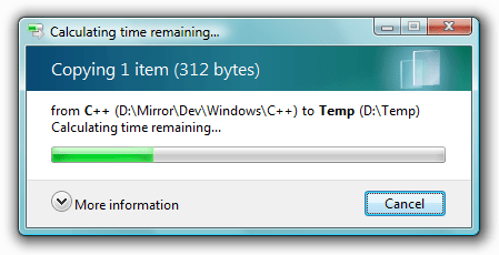 Windows Calculating Time Remaining Progress Bar