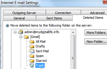 Delete Gmail Email via IMAP in Outlook