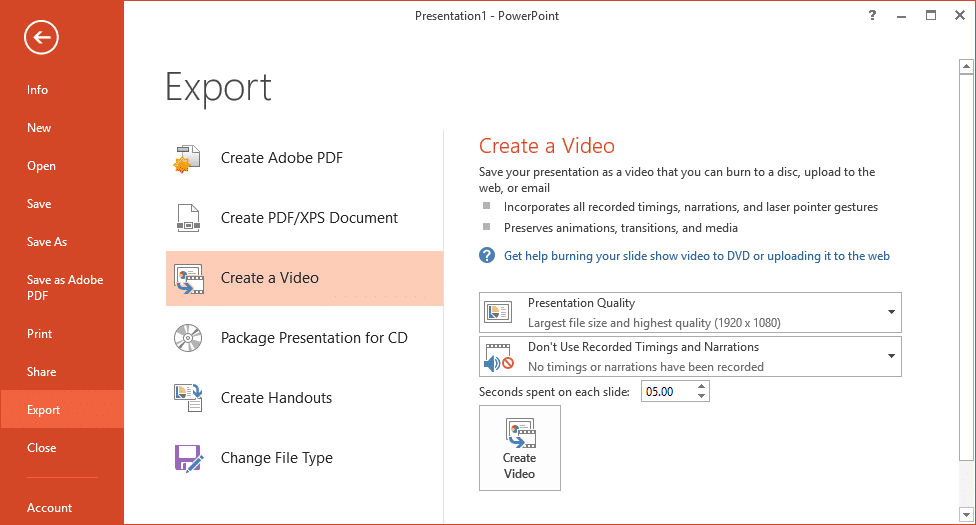 Export and Create Video from PowerPoint Presentation