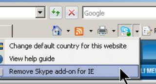 Uninstall Skype Add-on for IE