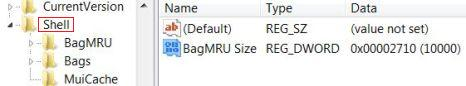 Set BagMRU Size in Windows