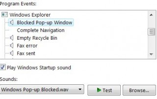 Change Blocked Pop Up Windows Sound