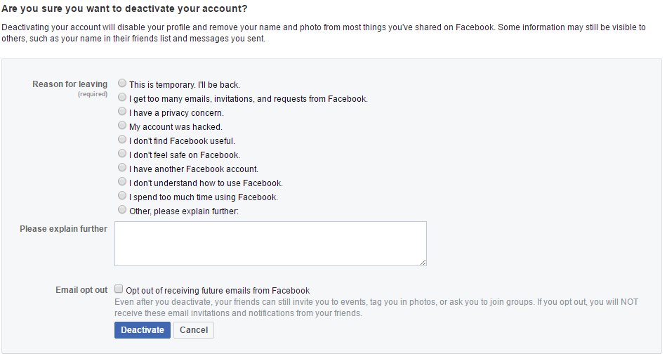 Confirm Delete Facebook Account