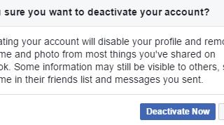 Deactivation Facebook