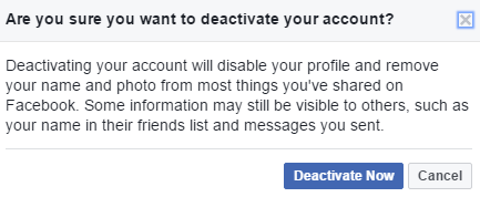 Deactivation Facebook