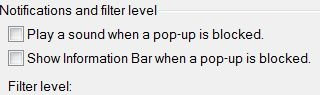 IE Pop-Up Blocker Notifications Settings