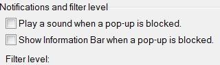 IE Pop-Up Blocker Notifications Settings