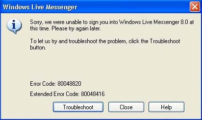 Windows Live Messenger Error